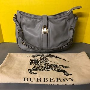Burberry gray leather hobo shoulder bag purse